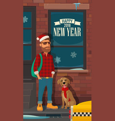 hipster santa claus dog and taxi on street flat vector image