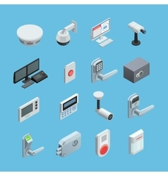 Home security Isometric Icons Set vector