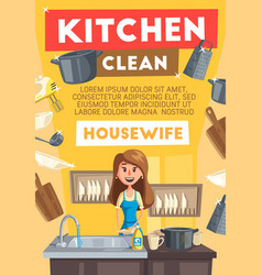 Housewife cleaning kitchen cartoon vector