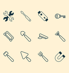 instrument icons set collection of harrow vector image