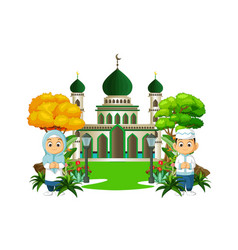 Islamic mosque with two kids cartoon vector