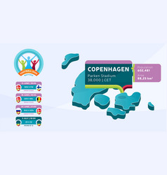 isometric denmark country map tagged in vector image