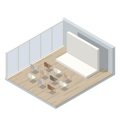 isometric lecture hall lecture audience an empty vector image