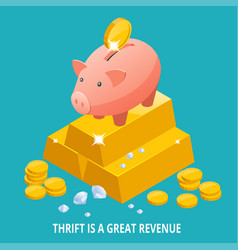 isometric piggy bank gold bullion diamond and vector image