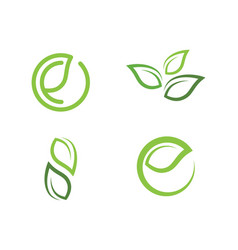 Leaf ecology nature logo template vector