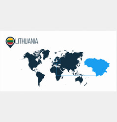 Lithuania location on the world map for vector