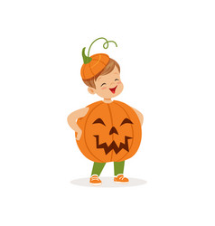 Little boy dressed as a pumpkin cute kid in vector