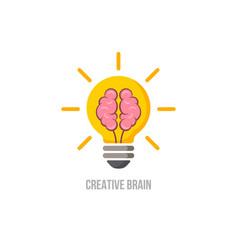 Logo brain symbol creative ideas mind vector