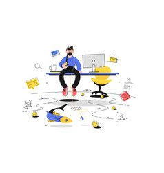 man fishing in office vector image