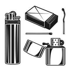 matchbox matches and lighters objects vector image