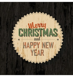 Merry xmas design on wooden background vector