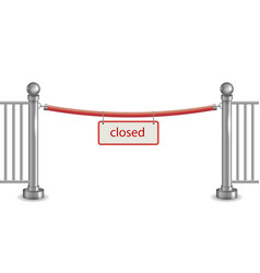 metal barrier with red ribbon vector image