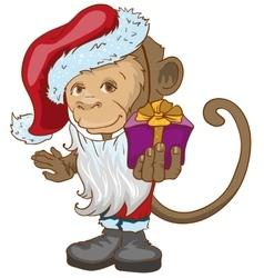 Monkey symbol 2016 in Santa hats holding gift box vector