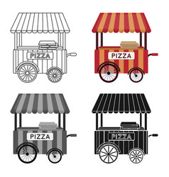 pizza cart icon in cartoon style isolated on white vector image