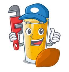 Plumber lassi mango in the character fridge vector