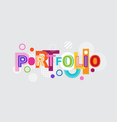 Portfolio creative word over abstract geometric vector