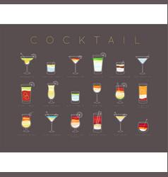 poster cocktails flat menu brown vector image