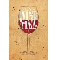 Poster wine time kraft vector image