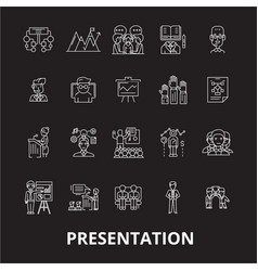 presentation editable line icons set on vector image