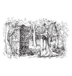 Princess in the woods vintage vector