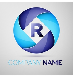 R letter colorful logo in the circle template for vector