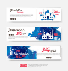 Ramadan sale offer banner set design promotion vector