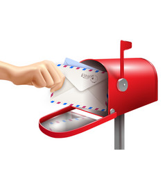 Realistic mail box composition vector