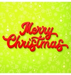 Red 3d Xmas lettering on green Christmas vector image