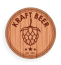 round wooden signboard beer design elements vector image