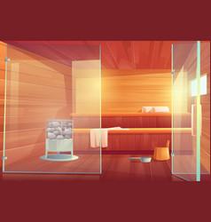 sauna empty room with glass doors wooden bathhouse vector image