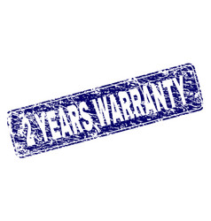 scratched 2 years warranty framed rounded vector image