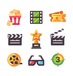Set flat cinema icons popcorn tickets award vector