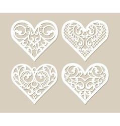 Set lacy hearts with carved openwork pattern vector