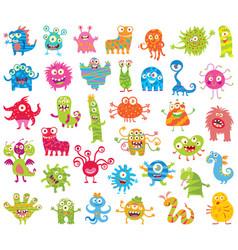 set of funny little monsters big set vector image