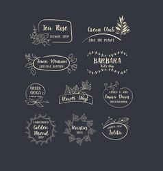 Set of handdrawn floral logos vector