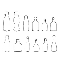 Set of Sketch Bottles vector image
