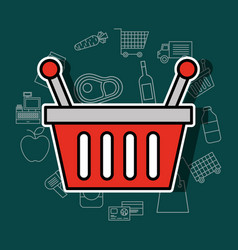 shopping basket supermarket commerce image vector image