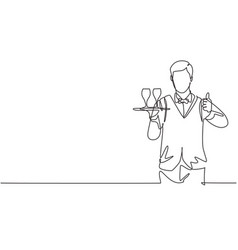 Single continuous line drawing waiter vector