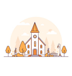 Small church - thin line design style vector