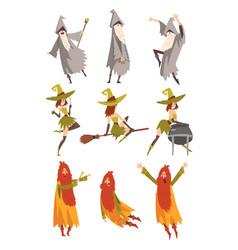 sorcerers practicing wizardry set wizards and vector image