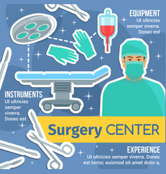 Surgery center poster with surgeon and instruments vector
