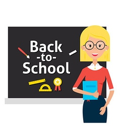 Teacher with Glasses and Book and Back to School vector image