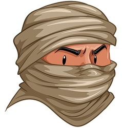 Terrorist covered his face with cloth vector