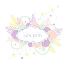 Text happy easter in cloud on colorful background vector