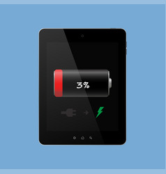 the tablet needs charging discharged on a blue vector image