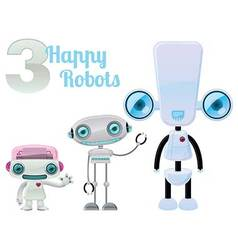 Three Happy Robots vector image