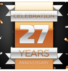 Twenty seven years anniversary celebration golden vector