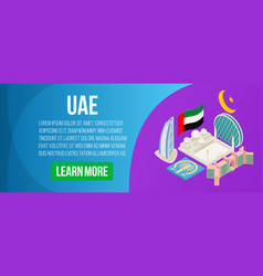 Uae concept banner isometric style vector
