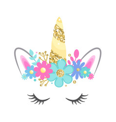 Unicorn face with closed eyes and flowers vector