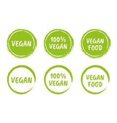 vegan logo icon set organic natural food labels vector image